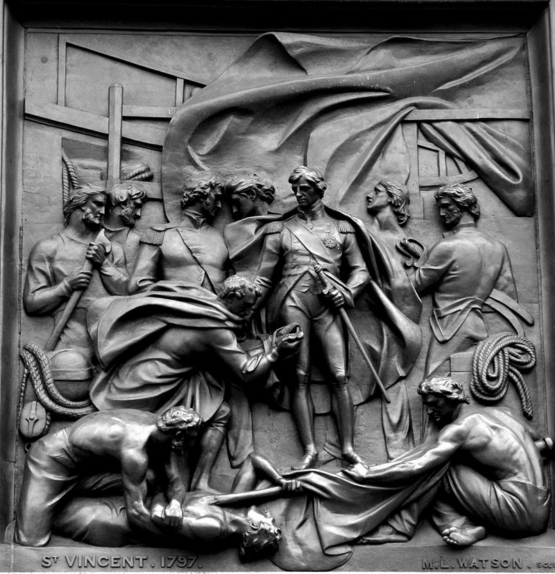 a bronze metal picture from nelsons column at trafalgar square in london showing the battle of st vincent