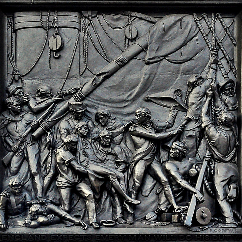 a bronze metal picture from nelsons column at trafalgar square in london showing nelsons death