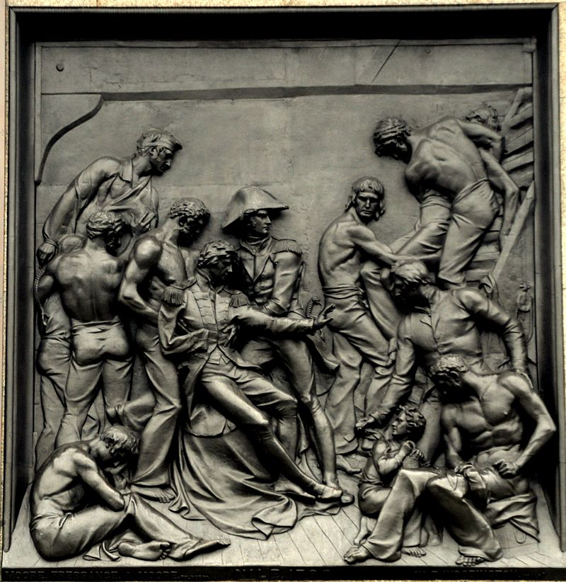 a bronze metal picture from nelsons column at trafalgar square in london showing the battle of the nile