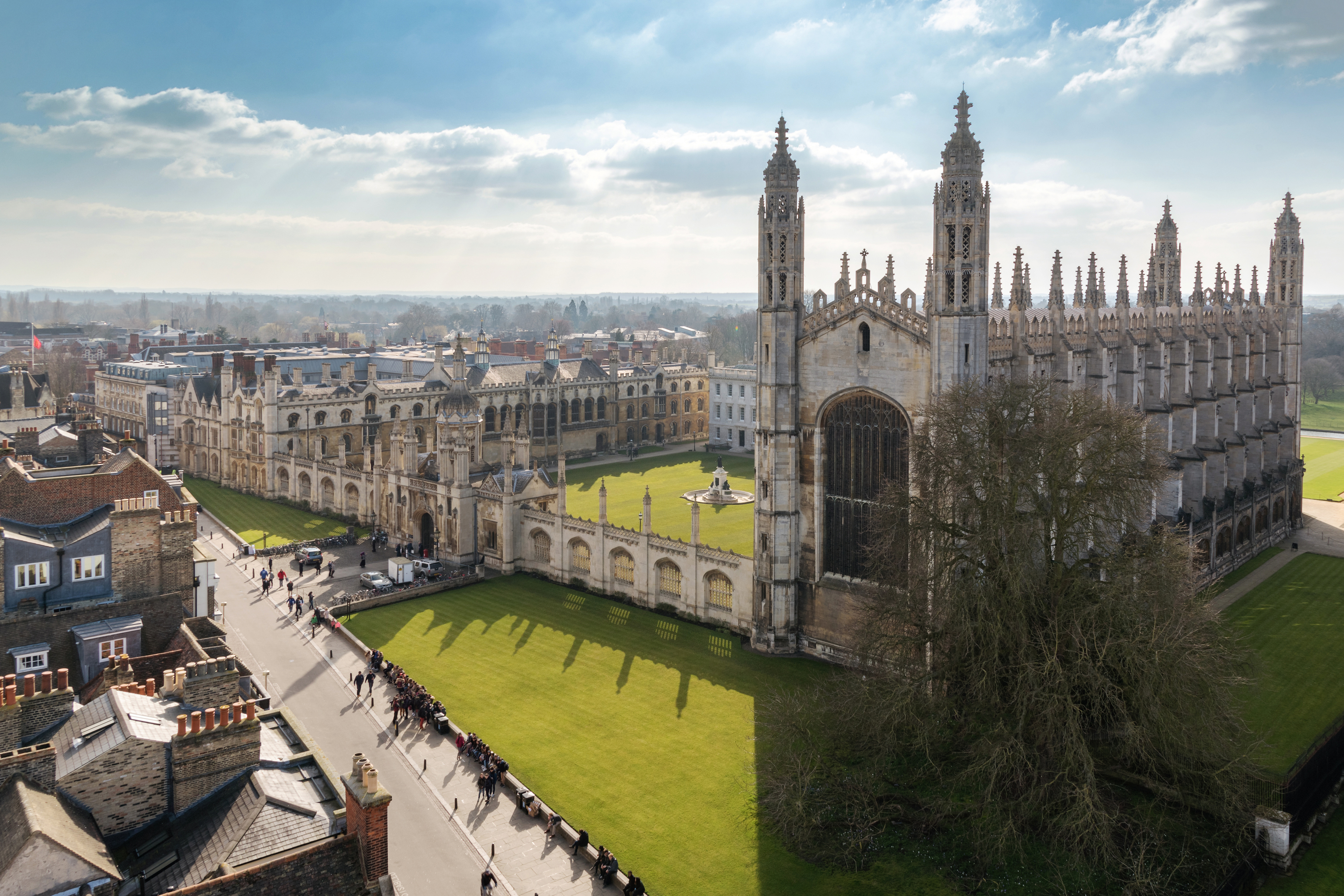 a view from the top over kings college of cambridge university together with cambridge main kings parade