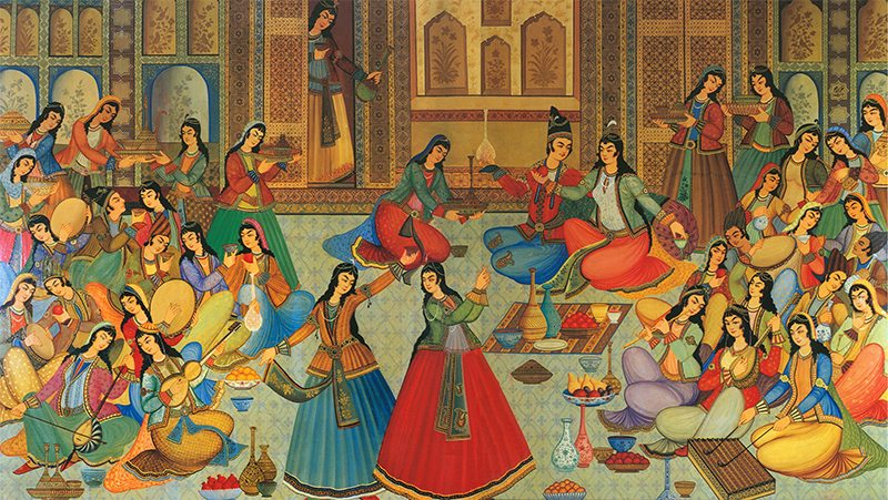 a coloured drawing of persian people having fun in a hall listening music and drinking mainly women
