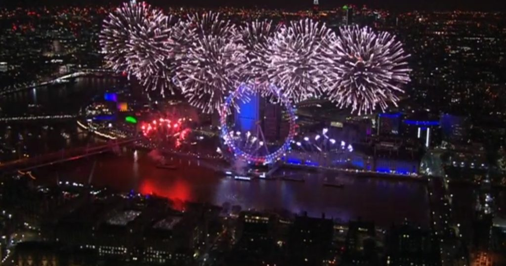 new years eve fireworks london eye view from the top