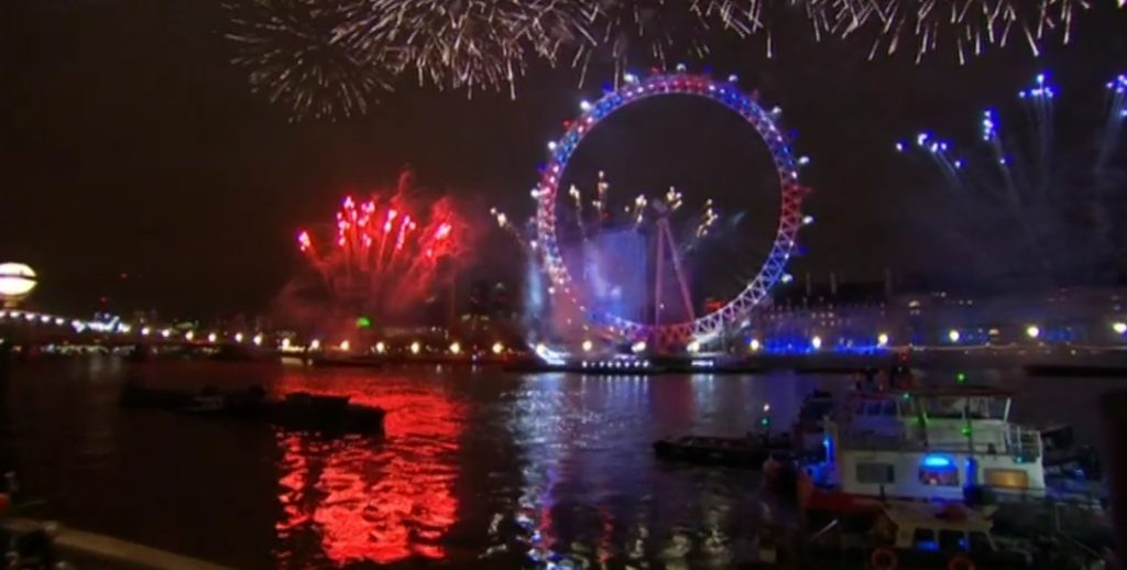 London eye in the united kingdom colors during the fireworks show for new years eve in london