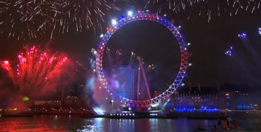 close up of London eye in the united kingdom colors during the fireworks show for new years eve in london
