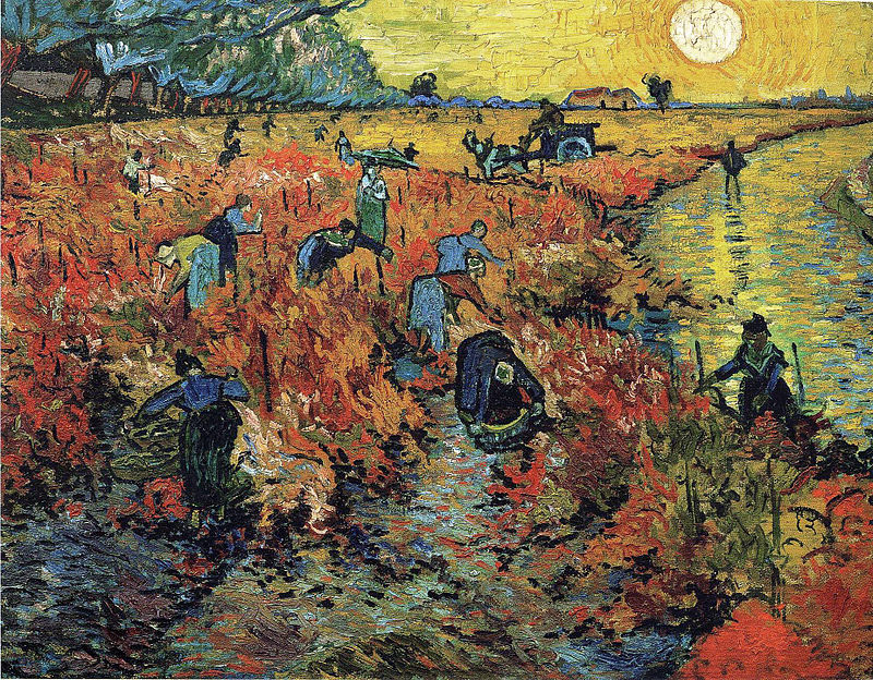 colored painting by vincent van goch of people in a vineyard collecting grapes on sunset near a river