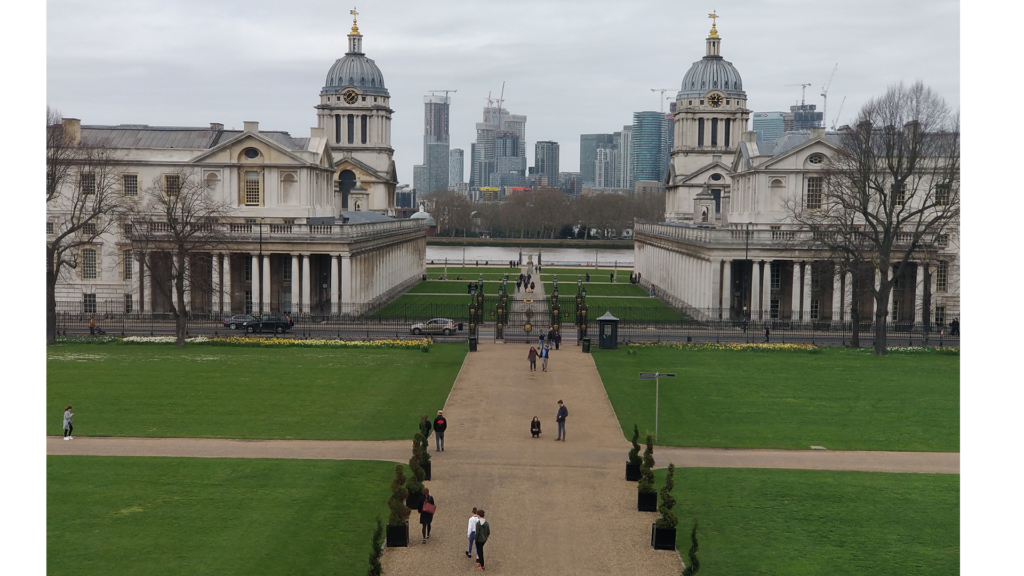 the two towers from the old royal naval college building with the river behind them picture from queens house
