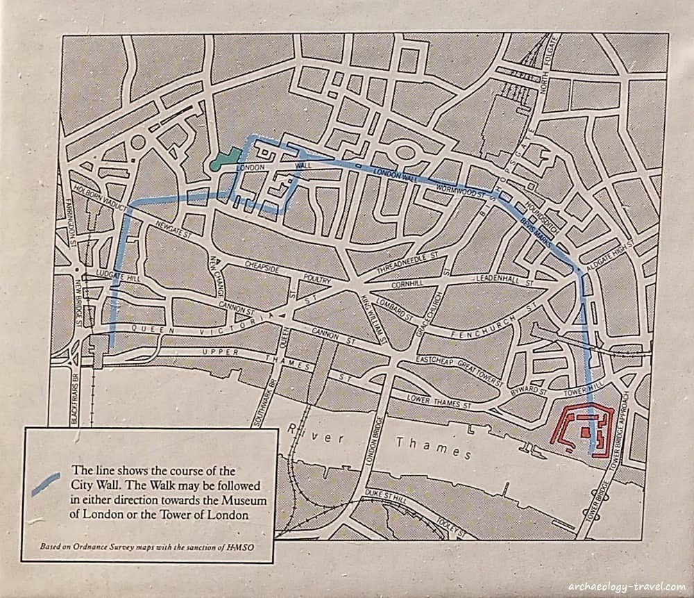 a map of the city of london with a blue line marking where the london roman wall was situated