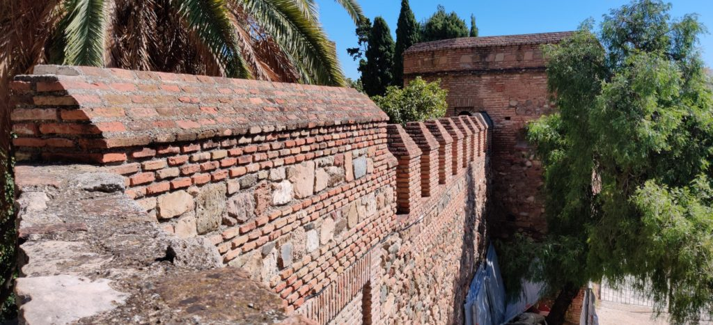 fortification walls in malaga with palm trees around